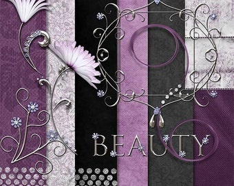 Flowers | Purple | Paper Scrapbook | Silver | Bling | Lavender | Beauty | Digital Scrapbooking