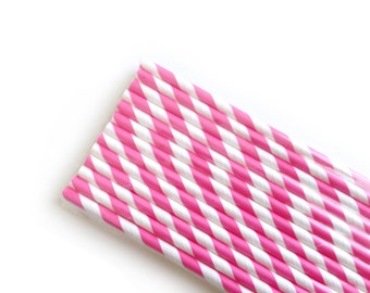 Princess Pink Striped Paper Straws (25)