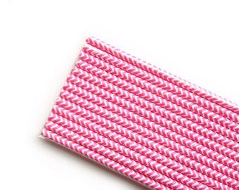 Hot Pink Chevron Paper Straws (25)