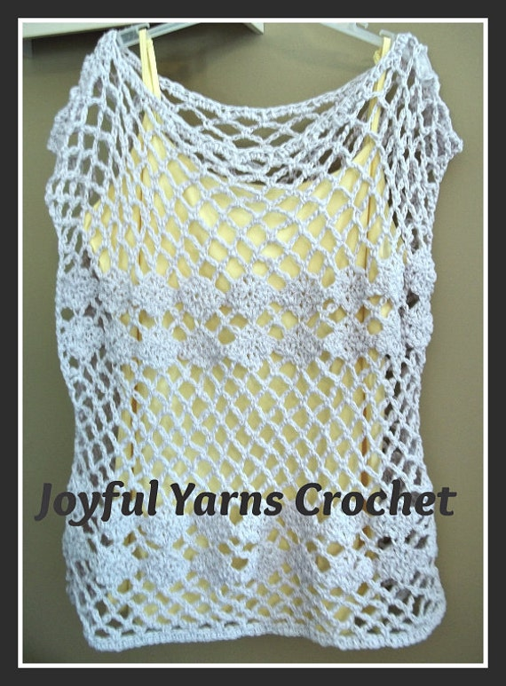 Free Crochet Patterns For Tunic Tops : Trellis & Shells Tunic Top Crochet Pattern