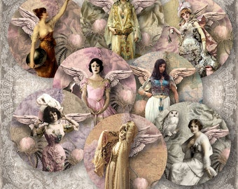 """Winged Beauties - 2.5"""" circles - Pocket Mirror - Digital Collage Sheet (057) - instant download"""