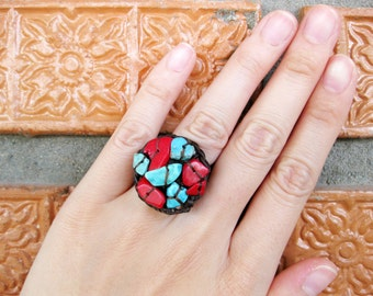 Circle Turquoise and Red Coral - Adjustable Ring, Jewelry Thailand Handmade. JR1018