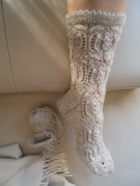 Knitting Patterns Sleeping Socks : Made to order. House lace socks. Boudoir socks. Wool sleeping