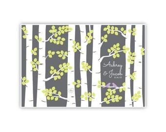 PRINTABLE 150 Guests // Wedding Guestbook Birch Trees Print // Yellow Green Leaves // Purple Birds
