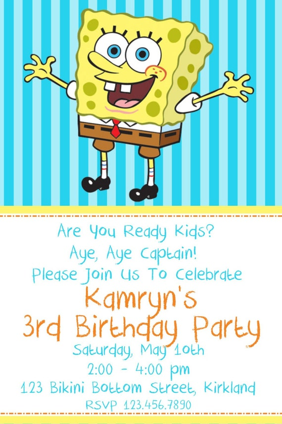 Personalized Spongebob Birthday Invitations for adorable invitations example