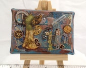 OOAK Original Mini Painting - Mixed Media Canvas - Steampunk