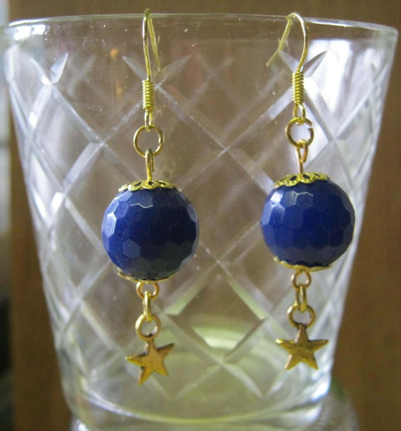 Handmade Gold Hook Earrings with Blue Facetted Jade & Star by IreneDesign2011