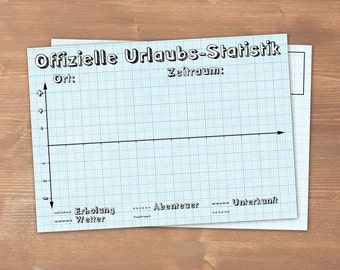 Postcard vacation statistics - carbon neutral print on recycling paper