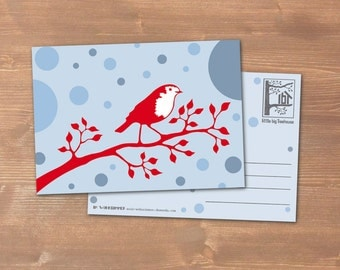 Postcard Robin - carbon neutral print on recycling paper