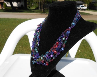 Purple, red, and green Trellis Necklace / Crochet Necklace Item No. 1