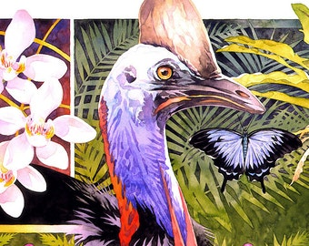 Australian Rainforest - wildlife art - poster print nature watercolour