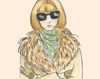 Anna Wintour 8x10 watercolor illustration art print