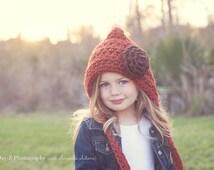 Children's Hat / Crochet Pixie Hat / Pixie Hood / Children's Crochet Hat / Fall Fashion / Winter Hats for Children