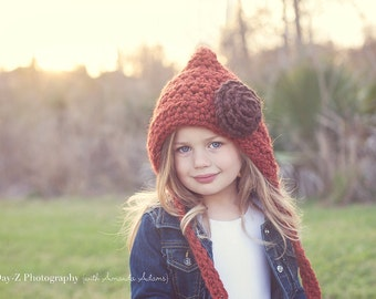 Children's Hat / Crochet Pixie Hat / Pixie Hood / Children's Crochet Hat / Winter Hats for Children / Easter Hat / Easter Bonnet