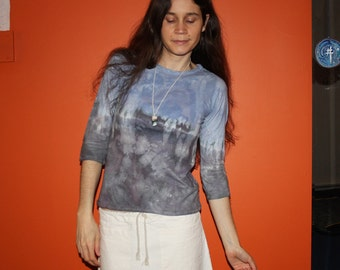 on the mountain - 3/4 sleeve lightweight hemp and organic cotton shirt - hand dyed - one of a kind - small