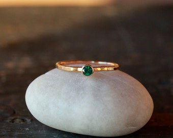 Emerald Solitaire Ring, 14k Yellow Gold Stacking Band, Emerald Gold Ring, Ethical Recycled Gold, May Birthstone, Handmade Ring
