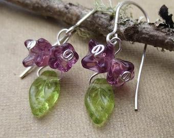 Little Lilac Cluster Purple Glass Flower Earrings, Dangle Earrings, Czech Glass Silver Wire Wrapped, Mother's Day Flower Girl Jewelry, Women