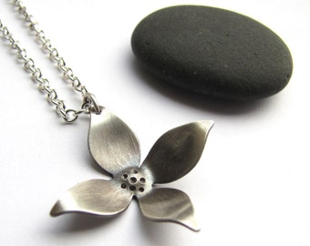"Petite Dogwood sterling silver blossom pendant  - made to order  with 18"" sterling chain"