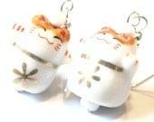 10% Off Sale Flower Cat Earrings -- Neko Cat Earrings Kawaii Earrings