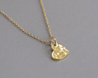 Tiny Gold Heart Necklace Hammered Charm Chain DJStrang Minimalist Love Sweetheart Valentine