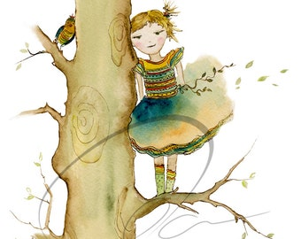 Shared Secret - Watercolor Art Giclee Print Nursery Painting Little Girl Climbing Tree Bird Available in Paper and Canvas by Olga Cuttell