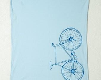 BLUE Bicycle blanket - screen printed baby blanket - blue bike
