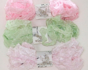 Seam Binding -  18 YARDS - PINK LEMONADE - Kiwi - Pink Ribbon - Light Pink Ribbon - Light Green Ribbon , Light Lime Ribbon