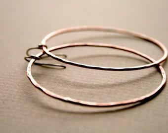 Copper Hoop Earrings - Large Copper Hoops, Big Copper Hoop Earrings, Hammered Copper Earrings,Copper Circle Earring