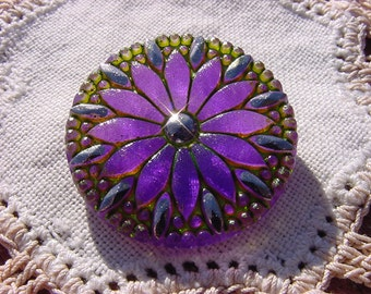 Platinum Plum Starburst Czech Glass Button