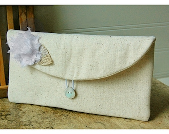 white clutch purse, rustic wedding, burlap, bridesmaid clutch, wedding clutch, shabby chic, Personalize purse Bridesmaid gift, Gift Under 25