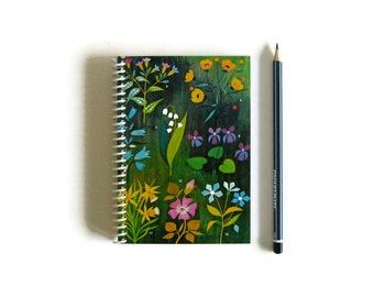 Colorful Forest Flowers, Blank Spiral Notebook A6, Back to School Spiral Bound Writing Journal Pocket Diary Small Sketchbook, Gifts Under 15