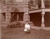 vintage photo Little Boy w His Drum Drummer Albumen 1900