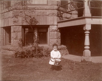 vintage photo Little Boy w His Drum Drummer Albumen 1900