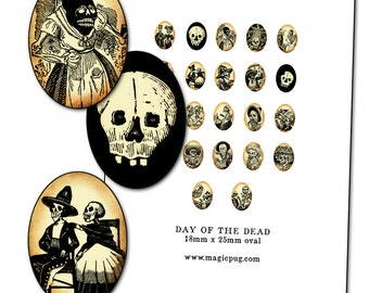 Day of the Dead  Jose Guadalupe Posada Calavera 18 mm x 25 mm digital collage sheet 18x25 mm 1.8 x 2.5 cm