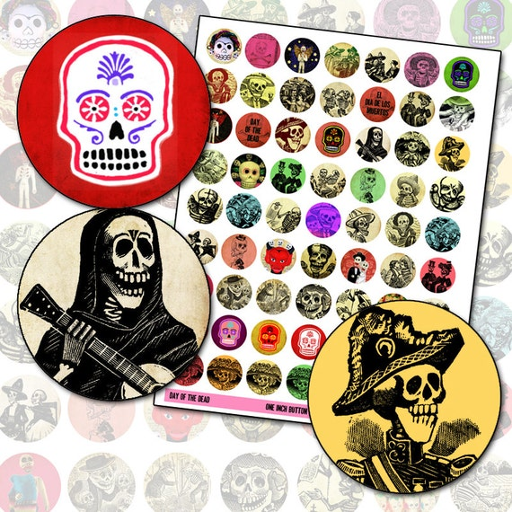 Day of the Dead 1 inch circle digital collage sheet for buttons badges pinbacks and bottlecap jewelry