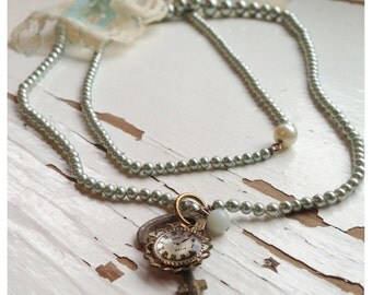 Necklace Repurposed Vintage Jewelry with a Key, Blue Beads, and Antique Lace