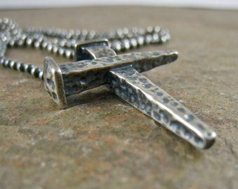 Rugged Nail Cross Mens Necklace with Sterling Silver Cross, Mens Cross Necklace Sterling Necklace Gift for Him, Fathers Day Gift Groom