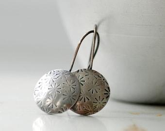 Silver Earrings, Stamped Earrings, Metalwork, Flower Earrings, Nature Jewelry, Whimsical Earrings, Sterling Silver Disc Earrings