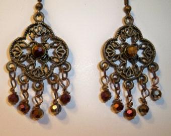 Chandelier Earrings Vintage Style with Gold Crystal Beads & Bronze Filigree