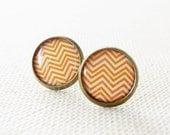 Orange Stud Earrings,Chevron Earring Posts,Orange Jewelry,Small Geometric Earrings,Everyday Jewelry,Round Earrings (E106)