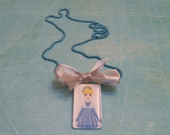 Cinderella Glass Tile Pendant, Girls Jewelry, Disney, Princess, Disney jewelry