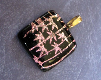 Gorgeous Dichroic Fused Glass Pendant, Pink, Black, Large Gold Plated Bail - Oasis -3541