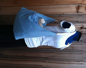 SALE - T Shirt Roll Up Tote - light blue Catalina Island