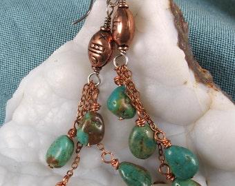 Turquoise Earrings ~ Turquoise & Copper Earrings ~ Gemstone Earrings
