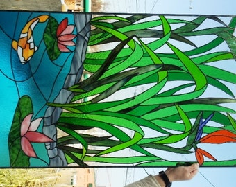 """Stained glass Panel - """"Asian Paradise"""" (P-34)"""