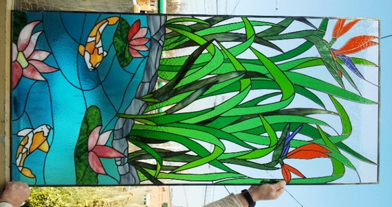 Stained Glass Panel Asian Paradise P 34