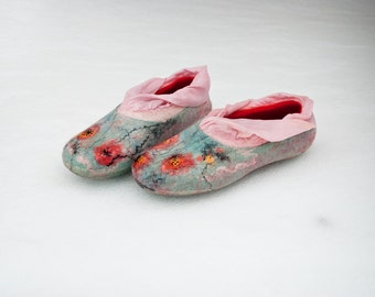 Felted slippers Women home shoes - Let It Snow - White Coral Mint - gift for her