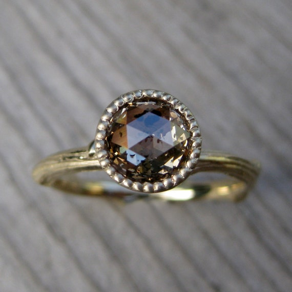 Rose Cut Diamond Twig Engagement Ring - Yellow Gold - Champagne Peach - Beaded Bezel