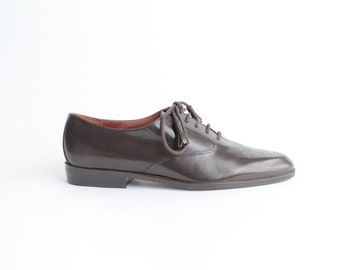 sz 8 | vintage brown leather oxfords | classic menswear brogues | near mint condition | 38.5