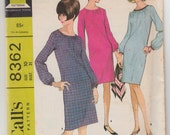 """Vintage Sewing Pattern Ladies Dress with Long Sleeves McCall's 8362 31"""" Bust - Free Pattern Grading E-book Included"""